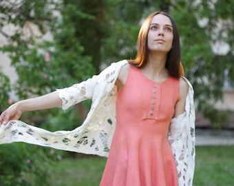 Felted midi coral dress with cobweb shawl knee wool dress Eco-friendly clothing sundress summer dress pink original ooak silk and wool dress