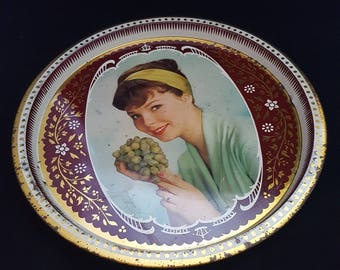 Vintage tray. Serving tray. Barware. 1960s girl portrait with grapes. Vintage metal tray.