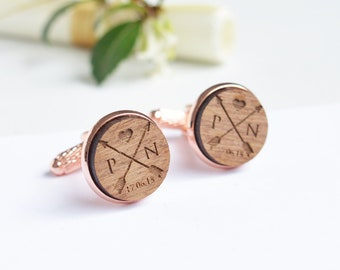 Custom wood Cufflinks, Fifth Anniversary Gift, Groom Cufflinks, Custom Engraved Cufflinks, Personalized  Cufflinks, Wood Cufflinks