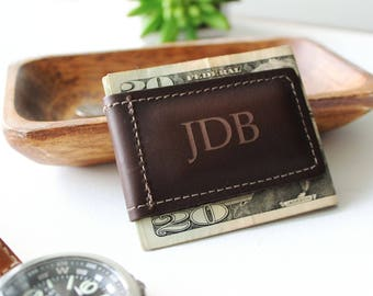 Christmas Gift For Him, Leather Wallet, Leather Money Clip, Personalized Gift, Leather Anniversary, Dad Christmas, Husband Gift, Boyfriend