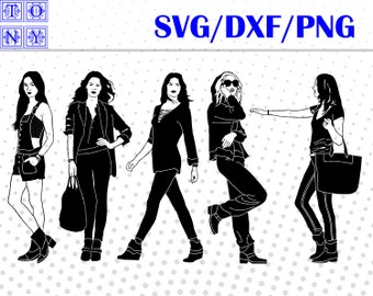 women on the street svg,png,dxf/women on the street clipart