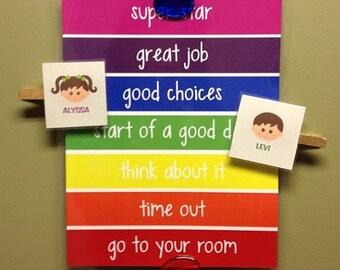 Behavior Chart for Children, K-2, Kid's Charts, Behavior Monitor Chart - PHYSICAL PRINT