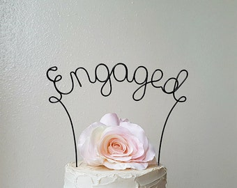 ENGAGED Wedding Cake Topper, Engagement Party Cake Topper, Rustic Wedding Cake Topper, Bridal Shower Cake Decoration,Engaged Cake Decoration