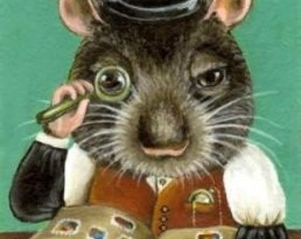 Phil the rat studying his stamp collection - PRINT of an original acrylic painting by Tanya Bond