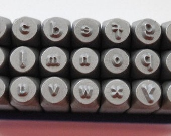 Single Letter-Comic Font  3mm-Lowercase-Metal Stamp Set-Alphabet Set