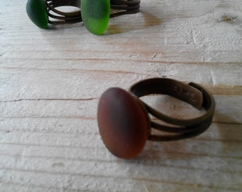 MERMAID's Tear RING - Organic Dark Amber Sea Glass Adjustable Ring with Genuine Natural Amalfi Sea Glass /nr90
