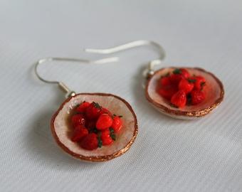 bowl of strawberries earrings
