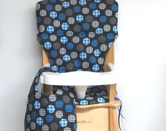 custom eddie bauer wooden high chair pad, blue circles on black with matching bib, replacement cover, feeding chair, baby furniture, decor