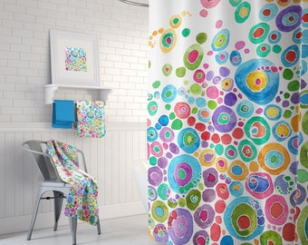 Colorful Shower Curtain Set - Inner Circle Bubbles Abstract Watercolor happy, colorful shower curtain, blue, teal, pink, green