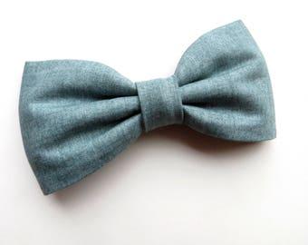 Dusty Blue Bow Tie, Smokey Blue Bow Tie, Dusty Blue Wedding Tie