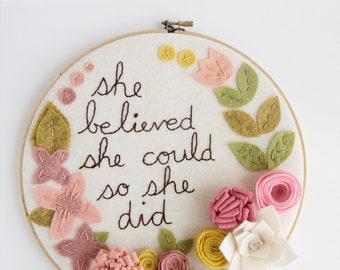Nursery Wall Art. Girls Room Wall Art. Quote Wall Art. Embroidery Hoop Art. Felt Flower Wall Art. Pink Nursery Wall Art. Playroom Decor