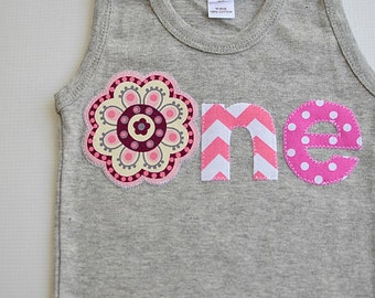 Girls 1st Birthday Shirt Gray and Pink One Tank Top Chevron Polka Dot Floral First Birthday Applique Shirt Ready to Ship