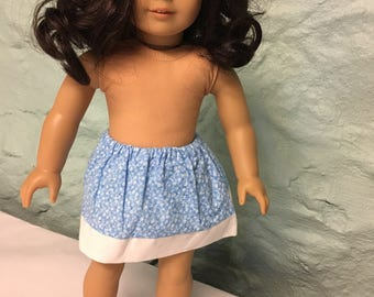Blue floral 18 inch doll skirt, doll skirt, blue flower skirt, cheap doll clothes