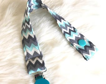 Baby pacifier clip, cotton fabric pacifier holder with metal clip. Baby boy teal pacifier holder, baby shower gifts.