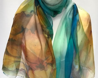 Silk shawl with hibiscus flowers- Hand painted- Gift for her- Birthday gift. Chiffon scarf.