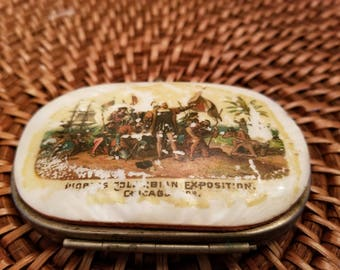 Vintage Very Rare 1893 World's Fair Columbian Exposition Souvenir Mother of Pearl Coin Purse