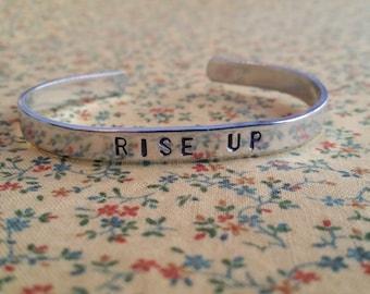 Rise Up Alexander Hamilton Musical Inspired Handstamped Aluminium Cuff Bracelet