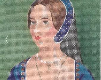 Needlepoint Handpainted Labors of Love TUDORS Anne Boleyn 5x5 -Free US Shipping!!!