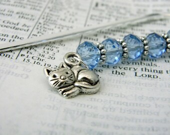 Cat Bookmark with Light Blue Beads Shepherd Hook Steel Bookmark Silver Color