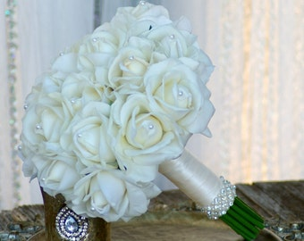 Real Touch Off White Ivory Rose Wedding Bouquet Simplicity