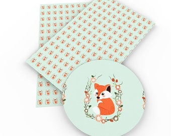 Fox/floral Faux Leather Sheet