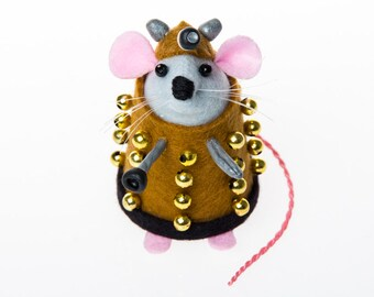 Dalek Mouse - Collectable Doctor Who inspired art rat artists mice felt mouse cute soft sculpture toy stuffed plush doll gift for Dr Who fan