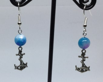 Anchor and blue marbled bead earrings