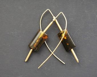 5g. Handmade Amber Long Earrings SALE