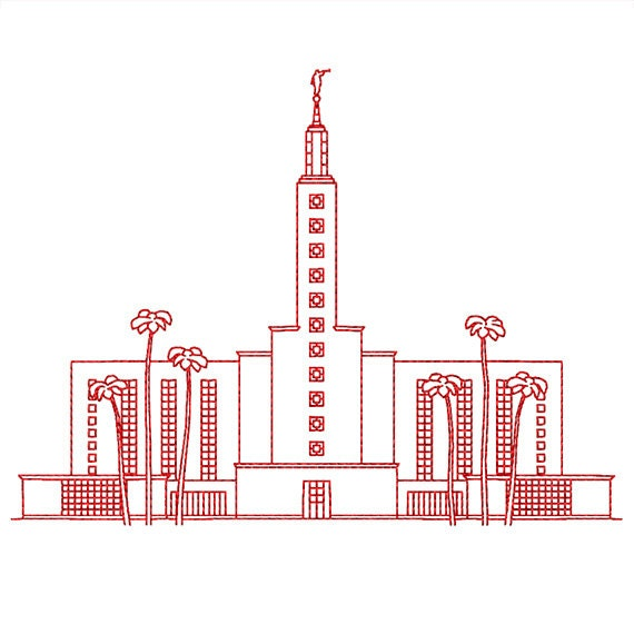 Los Angeles California Lds Temple Redwork Embroidery Design