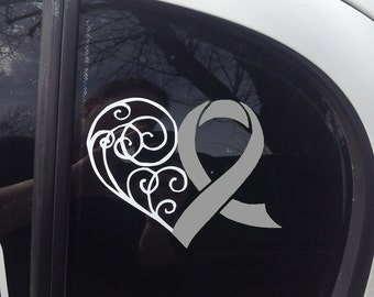 Gray Awareness Ribbon Heart Scroll Window Decal (Brain Tumor, Brain Cancer, Allergies, Aphasia, Asthma, Diabetes, Parkinson's)