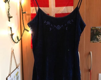 Blue Velvet Dress with Floral Embroidery
