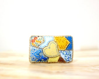 Summer Lake Mosaic Brooch. Yellow, Mustard and Blue. Felt Fabric Textile Brooch. Heart Applique Brooch. Mosaic Jewelry.