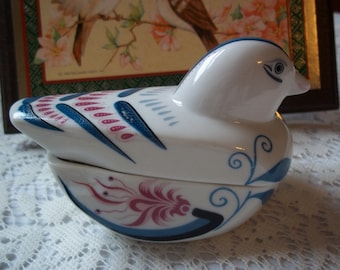 Vintage Folk Art Blue Bird Trinket Box Unique Porcelain Keepsake Treasure Trinket Ring Holder Collectible Knickknack Great for Gifting