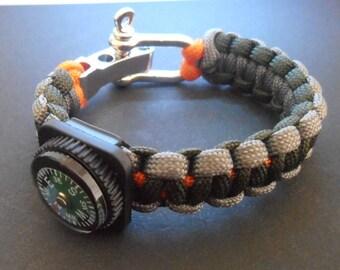 Survival bracelet Cobra with mini compass & metal shackles 3 colours