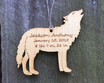 Wolf Ornament: Personalized Chrismas Ornament/Engraved/Wood