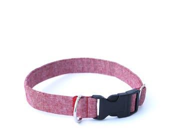 Red Chambray Dog Collar