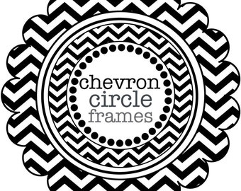 Circle Frames in Chevron - digital clip art - Black and White
