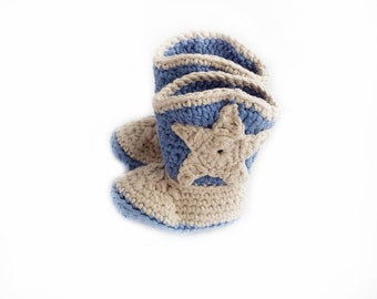 Baby Cowboy Boots / Cowboy Baby Booties / Crochet Baby Boots / Cowboy Baby Shower Gift / Infant Cowboy Boots / Blue Baby Booties