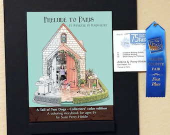 """Coloring storybook - """"Prelude to Paris"""" - Australian cattle dogs - """"Dollhouse Dogs"""" architectural dollhouse minatures"""