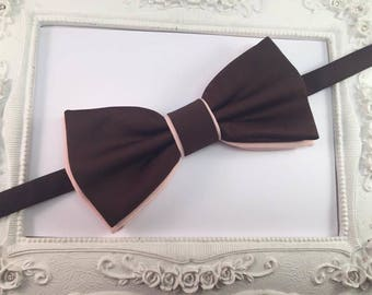 Bow tie Double chocolate brown and peach - man