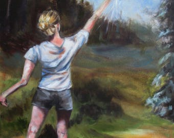 "Oil Painting. ""New Beginnings"" -Framed , Joyful Art, Girls Room Decor , Impressionistic , Figurative"
