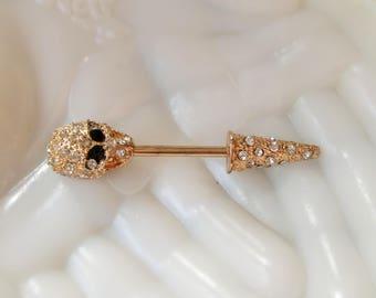 Distinctive Gold Pave Skull Lapel Pin