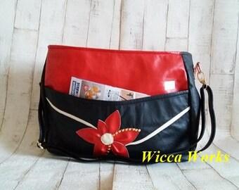 Black an red flower bag