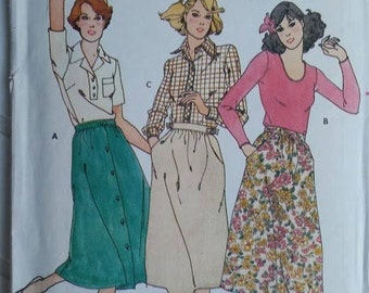 Vintage 1970s Sewing Pattern Butterick 5935 - Misses Skirt Size 26.5 Waist - from 1979 - Partially Uncut