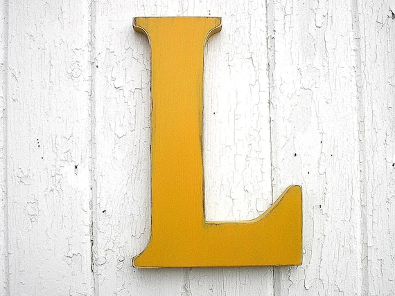 Wooden Letters L 12 inch Kings Gold Big Kids Wall Art Nursery