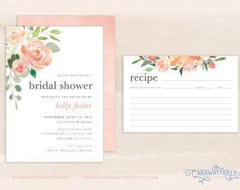 spring floral bridal shower invitation set printable recipe card peach blush rose watercolor floral garden bridal