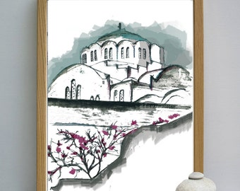 Santorini watercolor, Architecture poster, Santorini GREECE painting, Architectural print, home decor rustic, island decor, Blue and white