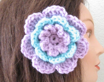 Light Purple and Aqua Rose Flower Hair Accessory Barrette Clip for Hats or Headbands