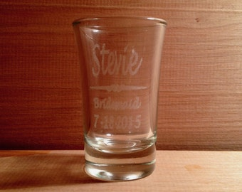Personalized Engraved Shot Glass 1.5 oz Wedding Birthday Groomsmen Bridesmaid St. Patrick's Day