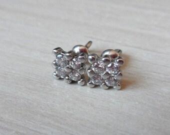 Silver Stud Earrings Studs Square Large Stud Earrings Wedding